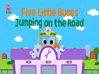 Five Little Buses Jumping On The Road